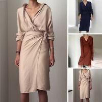 Elegant Women's 3/4 Sleeve V-Neck Evening Cocktail Party Midi Long Dress S M L