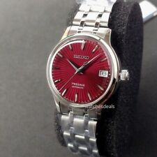 JAPAN MADE, LADIES SEIKO PRESAGE, SRP853J1, AUTOMATIC, RED WINE DIAL, STEEL BAND