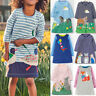 Kids Girls Casual Cartoon Stripe Princess Long Sleeve Shirt Tunic Party Dresses