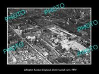 OLD LARGE HISTORIC PHOTO ISLINGTON LONDON ENGLAND DISTRICT AERIAL VIEW c1950 1