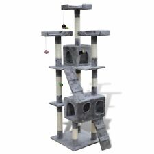 """Cat Tree Scratching Post 67"""" 2 Condos Gray Tower Play Gym Pet Furniture Toy"""