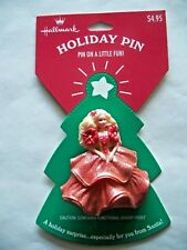 VTG Hallmark 1995 Holiday Barbie Doll Lapel Pin Brooch Mattel Red Gown Sparkle