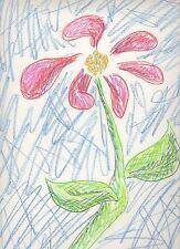 Red Flower Still Life Figure Green Blue Pastel Pencil Original Art Drawing