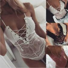 Lace UP Strappy Plunge V Neck Full Lace Bodysuit Womens Bodycon Tops Lingerie B