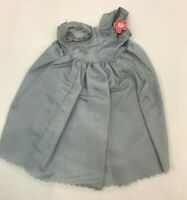 Vintage Doll Dress Blue Satin Netting Flower Corsage Gown Formal Clothing