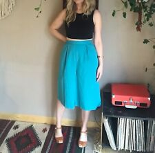 80s women's vintage teal blue high waisted culottes boho minimalist chic