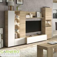 Parete attrezzata GARY legno/bianco lucido mobile soggiorno tv base televisione