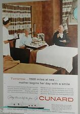 1958 CUNARD Line advertisement, Queen Mary & Elizabeth ocean liner Stateroom