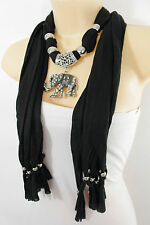 Women Black Fashion Long Necklace Soft Scarf Silver Elephant Pendant Fringe Bead