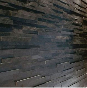 Black slate split face wall cladding for feature walls 3 d effect