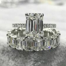 9Ct Emerald Diamond Bridal Set Solitaire Ring Eternity Band 14K White Gold Over
