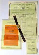 ROLEX CHRONOMETER 14kt ROTGOLD HERRENUHR + ORIGINAL ROLEX GANGSCHEIN von 1942