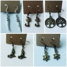 Handmade Witch Wicca Theme Tree of Life Broom Stick Cat Tibetan Charm Earrings
