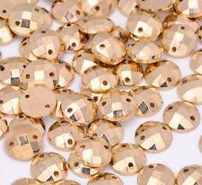 50 x gold sew stirch On round 10 mm Jewel acrylic GEM CRYSTAL RHINESTONE Bead