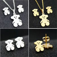 Fashion Lovely Bear Stainless Steel Pendant Lady Earring Necklace Set Jewelry