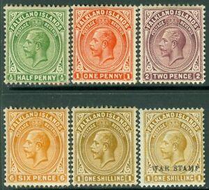 EDW1949SELL : FALKLANDS 1912-18 Sc #30-32, 34-35 Also #MR3 VF, Mint OG Cat $100