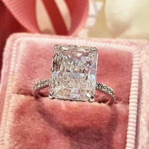 5.00 TCW Radiant Cut Brilliant Moissanite Engagement Ring 14K White Gold Plated