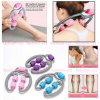 US Muscle Stick Massage Roller 5 Wheels Foam Handle for Fitness Relieve Soreness