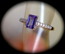 AA TANZANITE RING 9K Y GOLD SIZE Q 'CERTIFIED' FAB COLOUR! - BNWT
