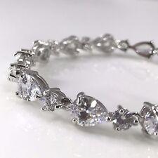 925 Sterling Silver Tone Cubic Zirconia White Crystal Tennis Bracelet CZ Bridal