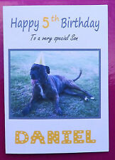 STAFFORDSHIRE BULL TERRIER (STAFFY) Dogs PERSONALISED Happy Birthday Card