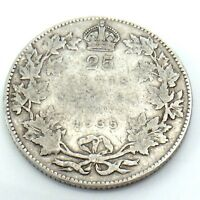 1935 Canada 25 Twenty Five Cents Quarter Silver King George V Canadian Coin G746