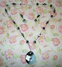 HAND MADE ZEBRA JASPER/CRYSTAL NECKLACE W/GLASS PENDANT AND EARRINGS