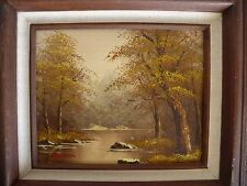 Vintage Oil Painting Art Woodland River Autumn Scene. Signed by Artist & Framed