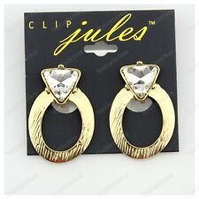 CLIP ON 4cm big RETRO HOOPS earrings GOLD FASHION glass CRYSTAL oval hoop CLIPS