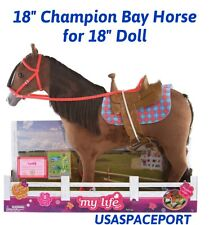 """Champion Brown BAY HORSE+Saddle Riding SET for My Life As American Girl 18"""" Doll"""