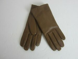 Vtg Isotoner Aris Taupe Leather Ladies 7.5 Driving Gloves