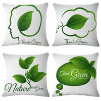 18inch Green leaves Linen Cotton Throw Pillow Case Cushion Cover Sofa Decor
