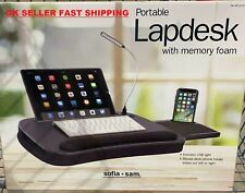 Sofia + Sam Portable Memory Foam Lap Desk with USB Light & Mouse Deck Wood