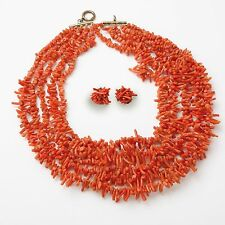 Vintage, Five Strand Genuine Red Branch Italian Coral Necklace and Earring Set