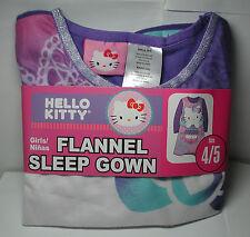 New Girls HELLO KITTY Flannel NIGHTGOWN Sleep Gown Sleepwear Set Size 4/5