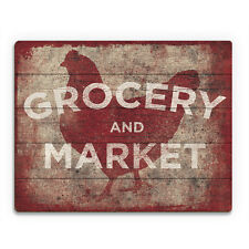 Vintage Grocery & Market Red Chicken Wood Wall Art Print 16x20 NEW PRICE REDUCED