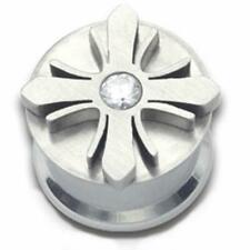 W/ Cz in The Center Surgical Steel Internally Threaded Spinning Plug