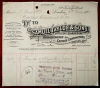 Samuel Taylor & Sons. London hand written & stamped Billhead dated 11th May 1910