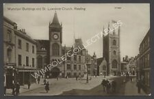 Reading, Municipal Buildings, St Lawrence Church. 1911. RP Postcard. (3652)