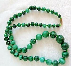 Artisan Genuine Malachite Graduated Bead Strand Necklace 24 Inches