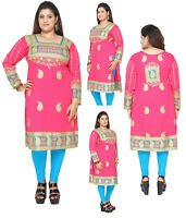UK STOCK - PLUS SIZE -  Women Indian Kurti Tunic Kurta Top Shirt Dress P106B