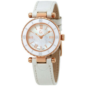 Guess Collection GC Women's Mini Mother-of-Pearl Rose Gold White Leather Watch
