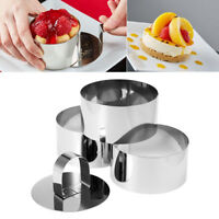 4pcs DIY Cake Mold Tools Stainless Steel Food Cooking Rings Pusher & Round Rings