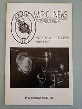 W.P.C.NEWS WPC Magazine May 1973 Walter P Chrysler Club  1939 Chrysler Model C22