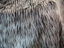 BLACK AND GREY WOLF FAUX FUR FABRIC BY THE YARD