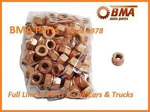 BMW (SET OF 100) E10 E28 E36 E90 Copper Lock Nut 10mm Exhaust Flange 18301737774