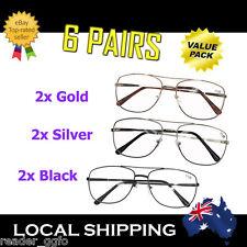 6 Pairs Australian Standard Reading Glasses Best Value Gold Silver Black 1.0~4.0