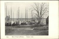 Noank CT River Front in Winter c1905 Postcard