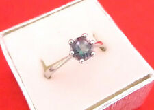 925 Sterling Silver Round Cut Mystic Topaz Solitaire Ring