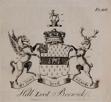 1779 ANTIQUE PRINT ~ HILL ~ FAMILY CREST COAT OF ARMS LORD BERWICK